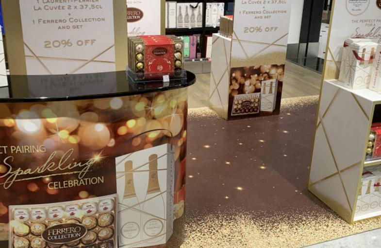Ferrero and La Cuvée sparkle with gifts at Paris CDG & Rome FCO